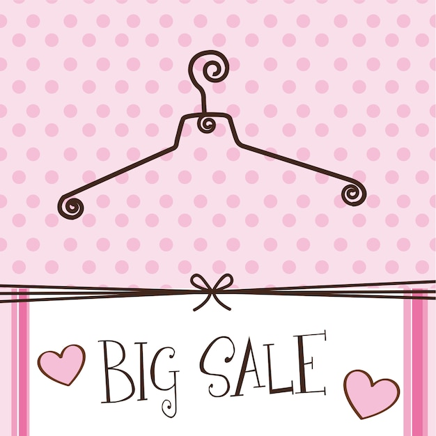 Cute hanger with big sale text over pink background vector Premium Vector