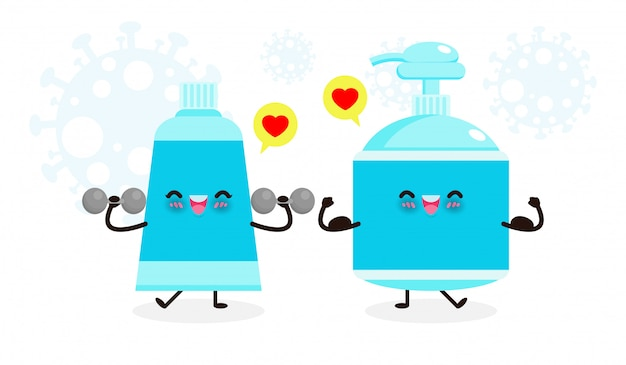 Cute happy alcohol gel exercises with dumbbells and strong hand wash gel show muscle. protection against coronavirus (2019-ncov) or covid-19 and bacteria healthy lifestyle isolated on white background Premium Vector