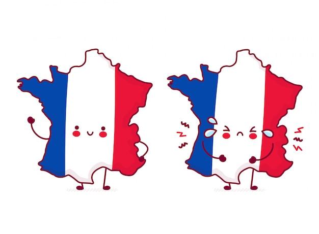 かわいい幸せで悲しい面白いフランス地図とフラグのキャラクター。 Premiumベクター