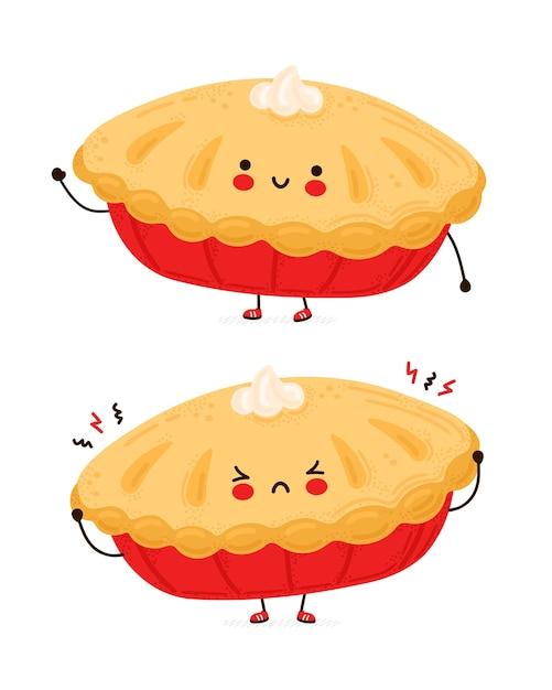 Милый счастливый и грустный смешной домашний пирог. изолированные на белом фоне. мультяшный персонаж рисованной стиль иллюстрации Premium векторы