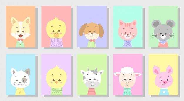 Cute happy animal set Premium Vector