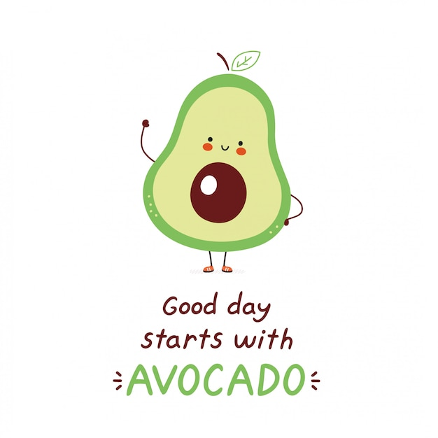 Premium Vector Cute Happy Avocado Isolated On White Vector Cartoon Character Illustration Design Simple Flat Style Good Day Starts With Avocado Card
