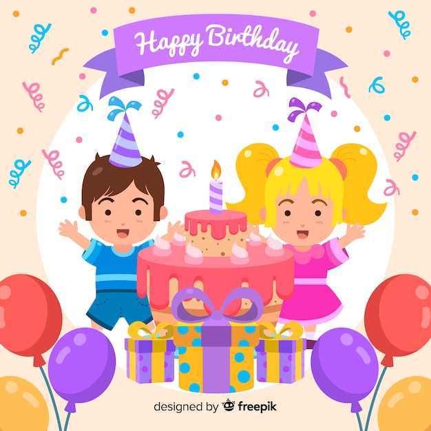 Cute happy birthday background design Vector | Free Download