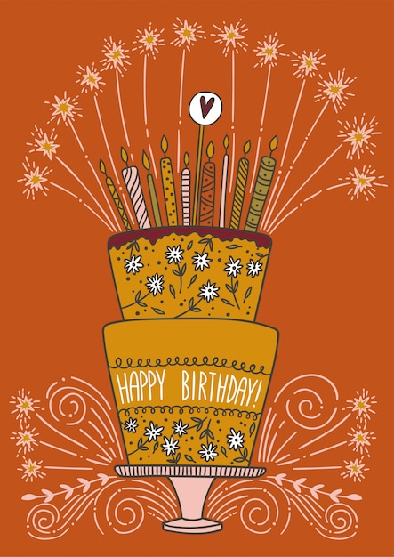 Peachy Cute Happy Birthday Cake With Candles And Fireworks Premium Vector Personalised Birthday Cards Paralily Jamesorg