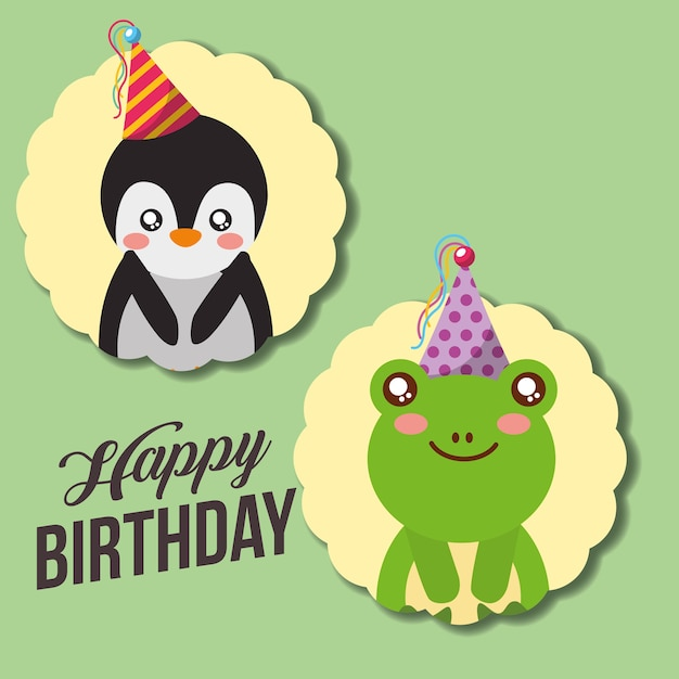 Cute Happy Birthday Card Funny Penguin And Frog Vector Premium