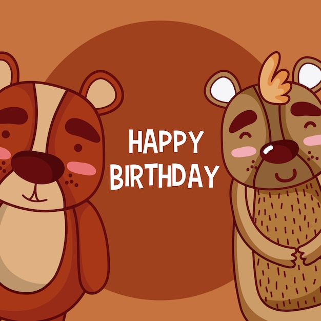 Cute Happy Birthday Card With Animals Cartoons Vector Premium Download