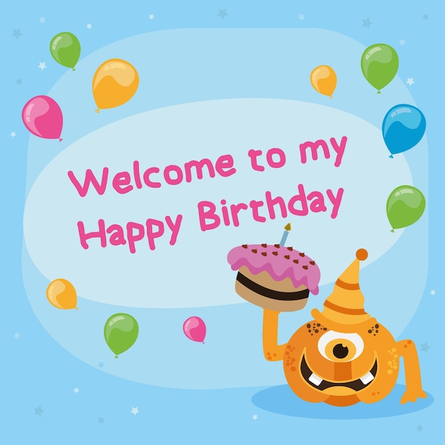 Cute Happy Birthday Card With Monster Vector Illustration Vector