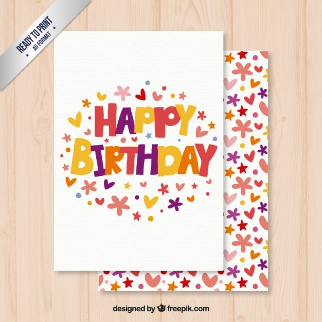 Delicieux Cute Happy Birthday Card Free Vector