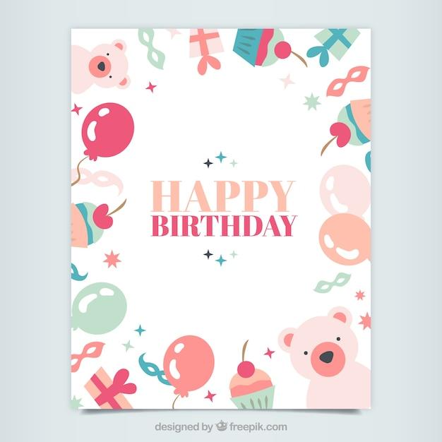 Cute happy birthday card Vector – Happy Birthday Card Cute
