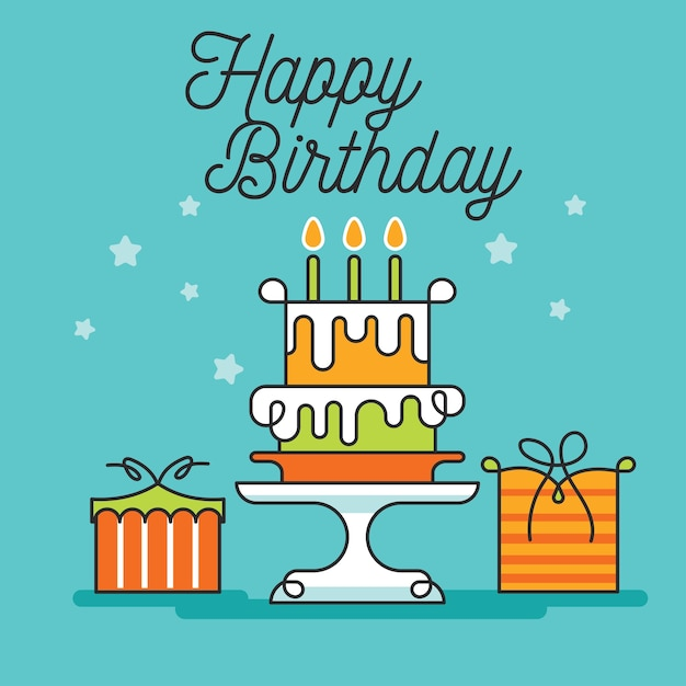 Cute Happy Birthday Greeting Card And Party Invitation Vector