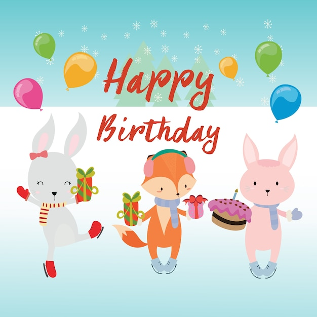 cute happy birthday greeting card with fox and rabbit vector