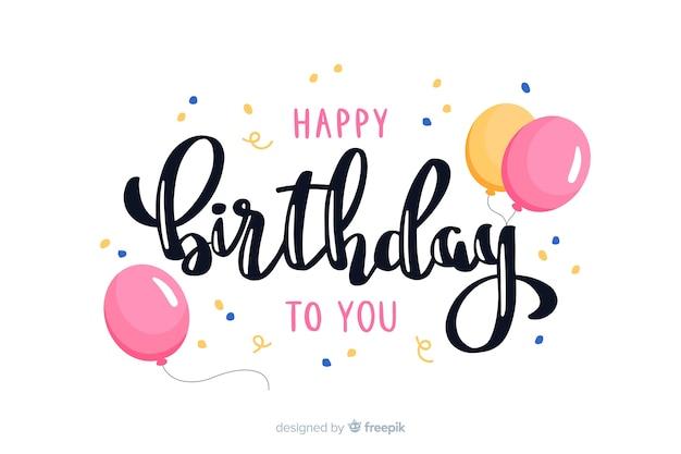 Cute happy birthday lettering Free Vector