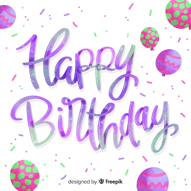Cute happy birthday lettering Free Vector