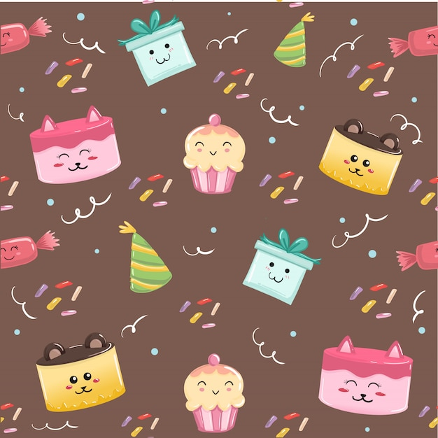 Cute Happy Birthday Seamless Pattern Ornament For Print