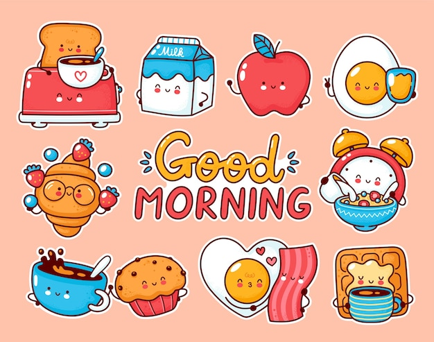 Cute happy breakfast food set collection. cartoon kawaii character stickers. Premium Vector