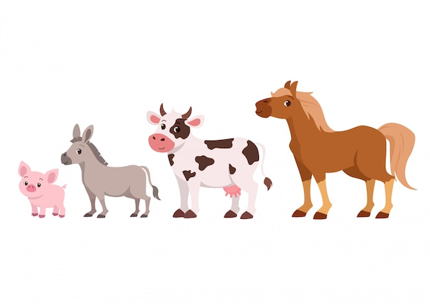 Cute happy cattle farm Premium Vector