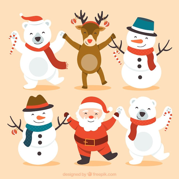 Cute happy christmas characters Free Vector