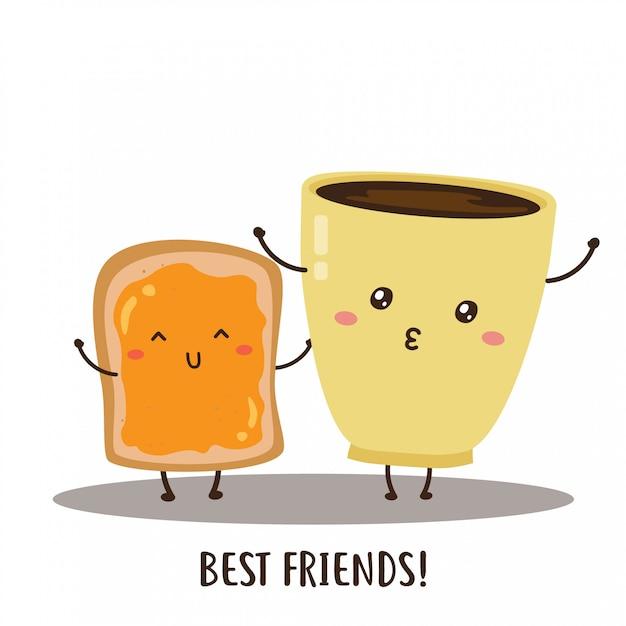 かわいい幸せなコーヒーとパンのベクターデザイン Premiumベクター
