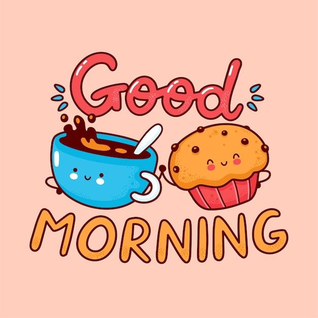 Милая счастливая кружка кофе и булочка. плоская линия мультяшного персонажа каваи. нарисованная рукой иллюстрация стиля. доброе утро карта, кофе и концепция плаката кексы Premium векторы
