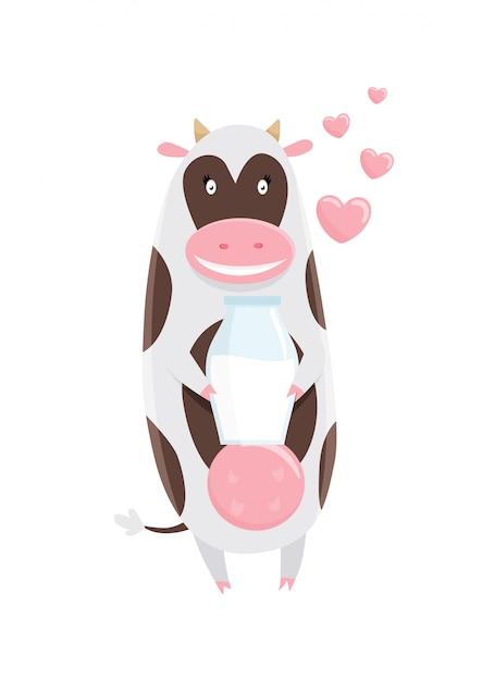 Cute happy cow cartoon Premium Vector
