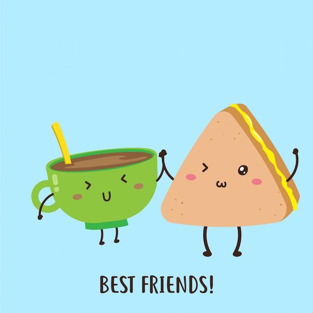 Cute happy cup of coffee and jam sandwich vector design Premium Vector