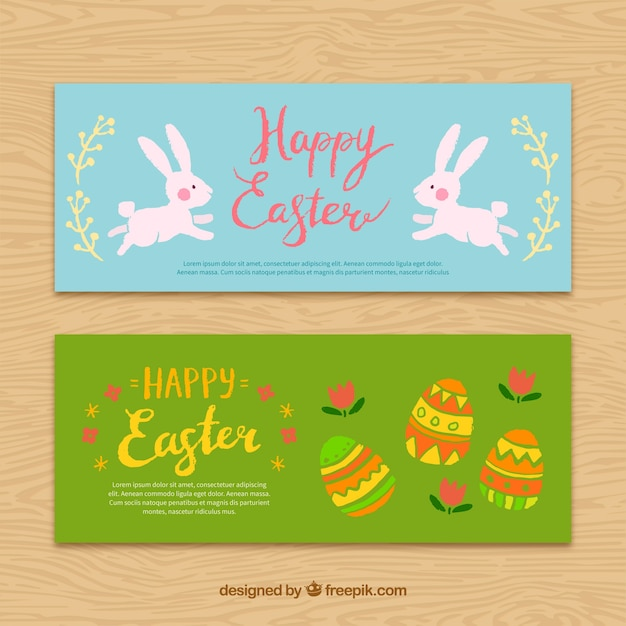 Cute happy easter banners