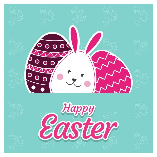 cute happy easter card vector free download