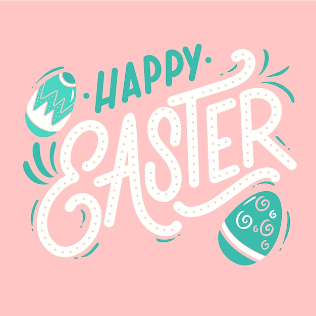 Cute happy easter day background Free Vector