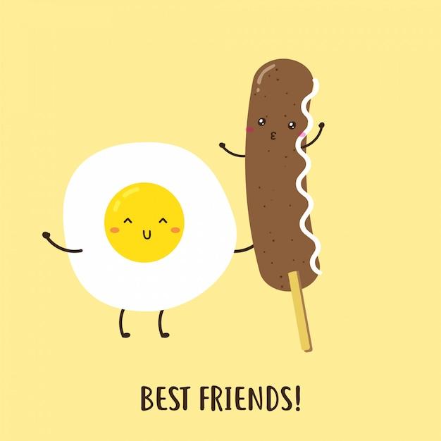 Cute happy egg and delicious sausage breakfast vector design Premium Vector