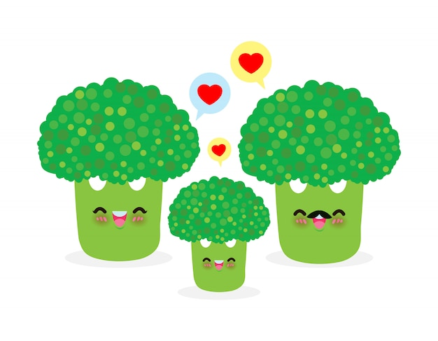 Premium Vector Cute Happy Family Broccoli Eating Healthy Food Funny Vegetable Character Eating Healthy Food Isolated On White Background Illustration