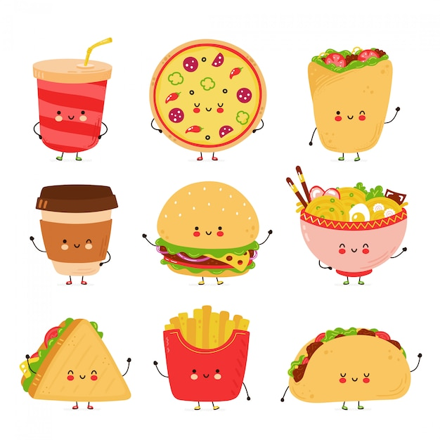 Cute happy fast food characters set. isolated on white background.  cartoon character hand drawn style illustration Premium Vector