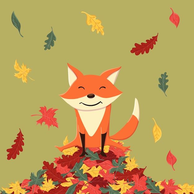 Cute and happy fox in the autumn leaves Premium Vector