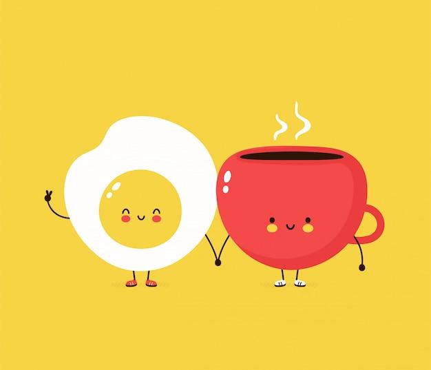 Милое счастливое яичница и кофе cuo. дизайн иллюстрации персонажа из мультфильма, простой плоский стиль. жареные яйца и концепция чашки Premium векторы