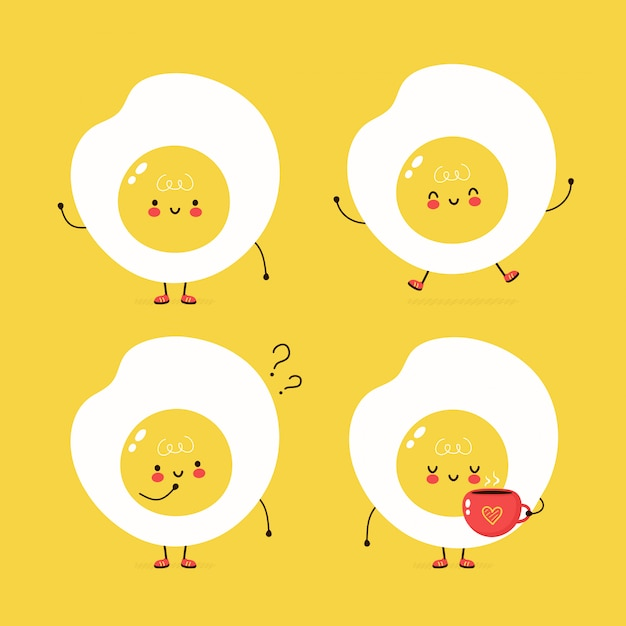 Мило счастливым жареное яйцо набор. дизайн иллюстрации персонажа из мультфильма вектора, простой плоский стиль. набор символов с символом жареного яйца, концепция коллекции Premium векторы