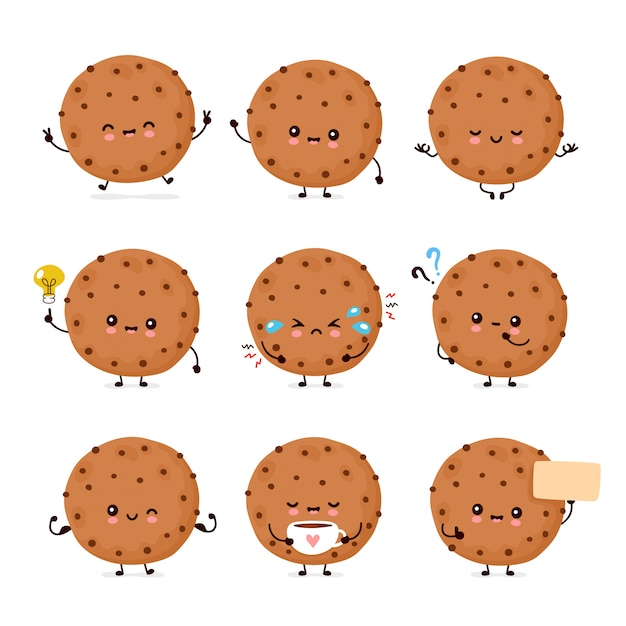 Cute happy funny chocolate cookie set collection.  cartoon character illustration icon design.isolated on white background Premium Vector