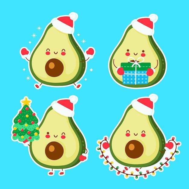 귀여운 행복 재미 크리스마스 아보카도. 만화 캐릭터 손으로 그린 스타일 그림. 크리스마스, 새 해 개념 프리미엄 벡터