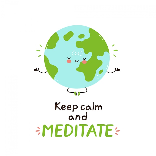 Cute happy funny earth planet meditate. vector cartoon character illustration design.isolated. meditation concept Premium Vector