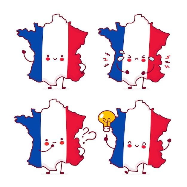 かわいい幸せな面白いフランス地図とフラグ文字セットのコレクション Premiumベクター