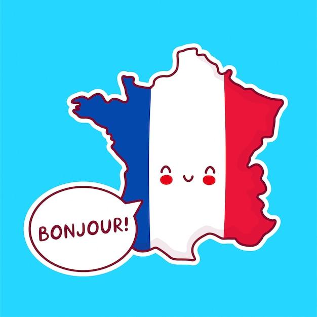 かわいい幸せな面白いフランス地図と吹き出しのbonjour単語で文字をフラグします。 Premiumベクター