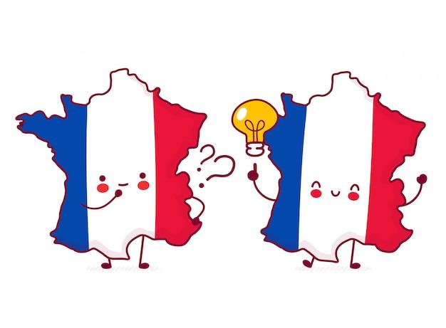 かわいい幸せな面白いフランス地図とフラグ文字に疑問符とアイデアの電球。 Premiumベクター