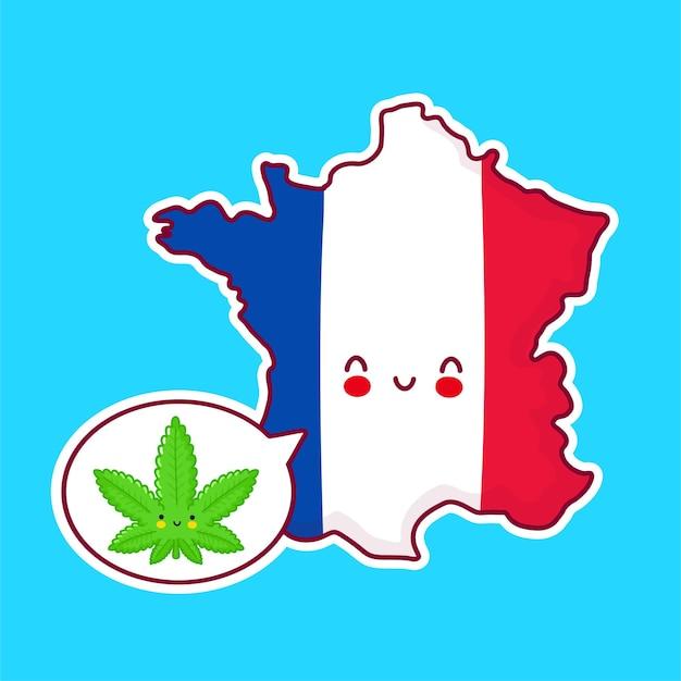 かわいい幸せな面白いフランスの地図と旗のキャラクター Premiumベクター