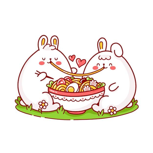 かわいい幸せな面白いウサギのカップルがボウルからラーメンを食べる Premiumベクター