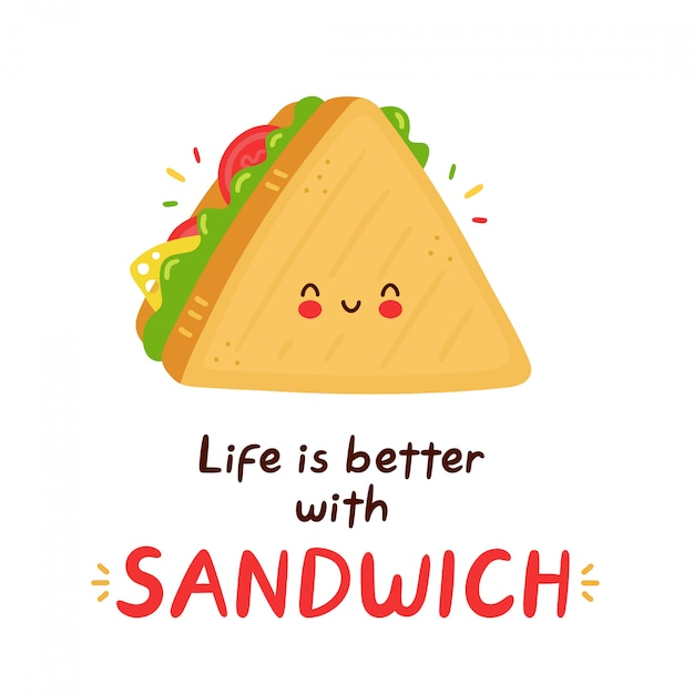 premium vector cute happy funny sandwich cartoon character hand drawn style illustration life is better with sandwich card https www freepik com profile preagreement getstarted 9731908