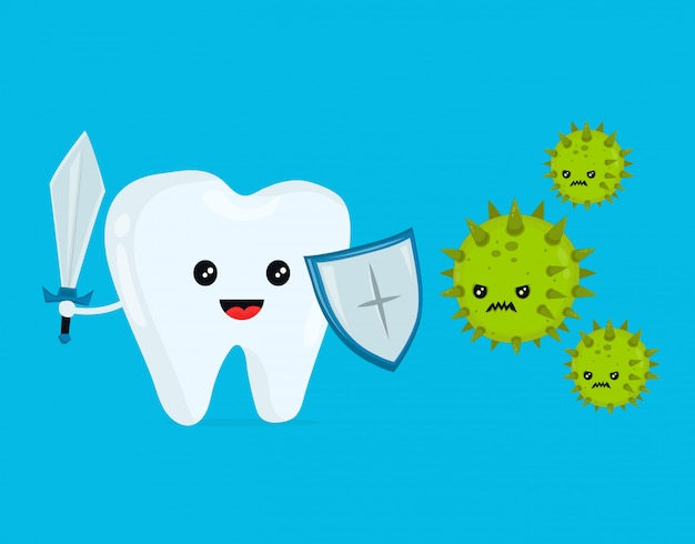 Cute happy funny smiling fighting tooth Premium Vector