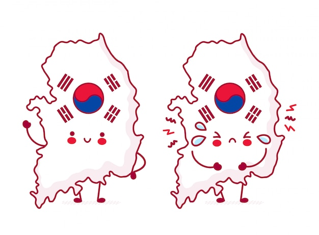 귀여운 행복 재미 한국지도 및 플래그 문자. 프리미엄 벡터