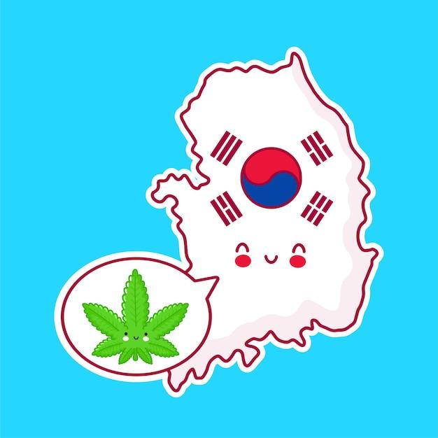 귀여운 행복 재미 한국지도 및 플래그 문자 프리미엄 벡터