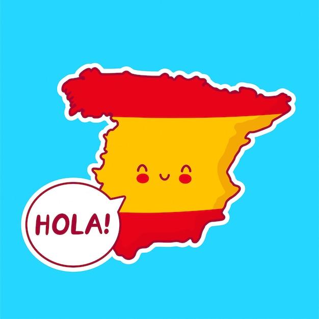 Симпатичная счастливая смешная карта испании и персонаж флага со словом hola в речевом пузыре! Premium векторы