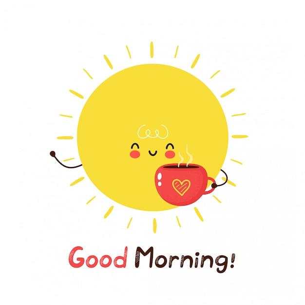 Милое счастливое смешное солнце с кружкой кофе. дизайн значка иллюстрации персонажа из мультфильма. изолированный на белой предпосылке. доброе утро, карта Premium векторы
