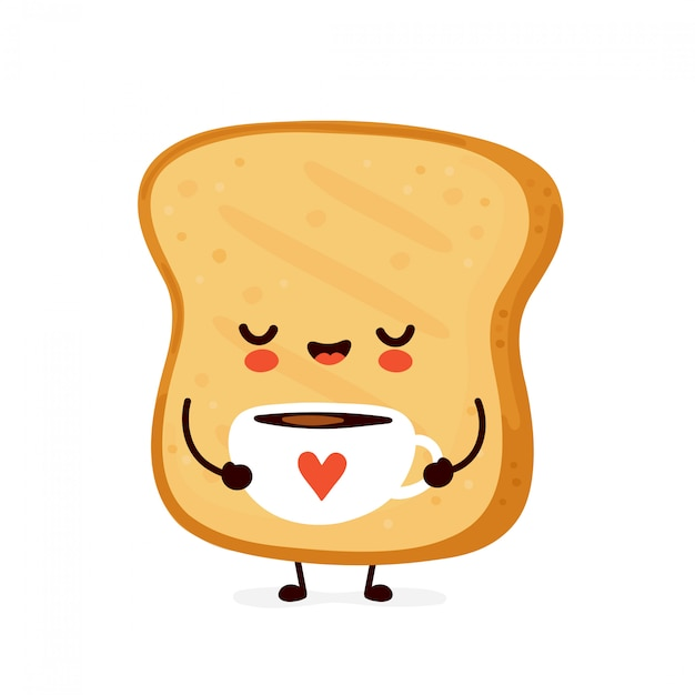 Cute happy funny toast drink coffee. cartoon character illustration icon design.isolated on white background Premium Vector