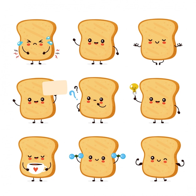 Cute happy funny toast set collection.  cartoon character illustration icon design.isolated on white background Premium Vector
